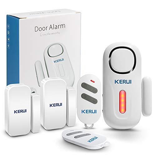 KERUI Tür und Fenster Alarmanlage mit 2 Tür Fenstersensoren und 2 Fernbedienungen Batterie Erweiterbar Sicherheit Alarmanlage Tür Einbruchschutz fur Haus Türalarm mit Fernbedienung
