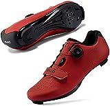 JINFAN Zapatillas de Ciclismo para Mujer Hombre Carretera SPD Bike Zapatillas de Ciclismo Spin Shoestring con Compatible SPD Look Delta Cycle Riding Cleat Zapatillas Peloton,Red-36EU