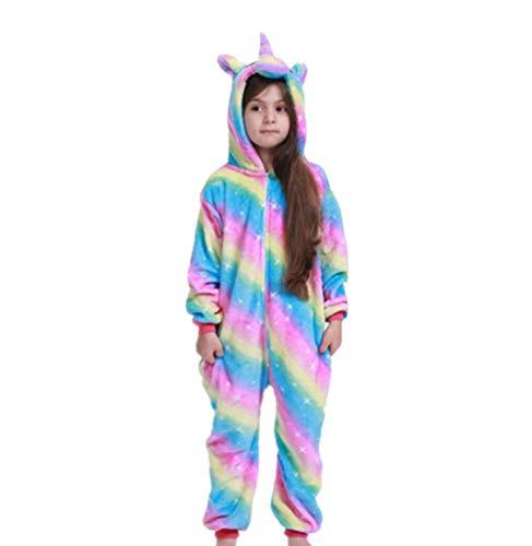 ALBRIGHT Mono infantil para cosplay de Pajamas, disfraz de unicornio arcoíris, camisón de animal, pijama con capucha, para Navidad, Halloween, carnaval, fiesta, 110 – 120 cm