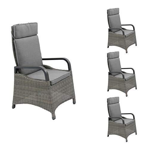 4X Gartenstuhl Positionsstuhl Gartensessel Hochlehner Verstellsessel Komido Dining braun Polyrattan Aluminium inkl. Auflage