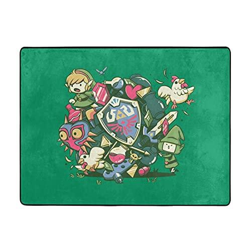 Legend Zelda - Alfombra antideslizante para el suelo, área grande, cómoda, suave, fácil de limpiar, decoración del hogar, elegante y simple 63 x 48 pulgadas
