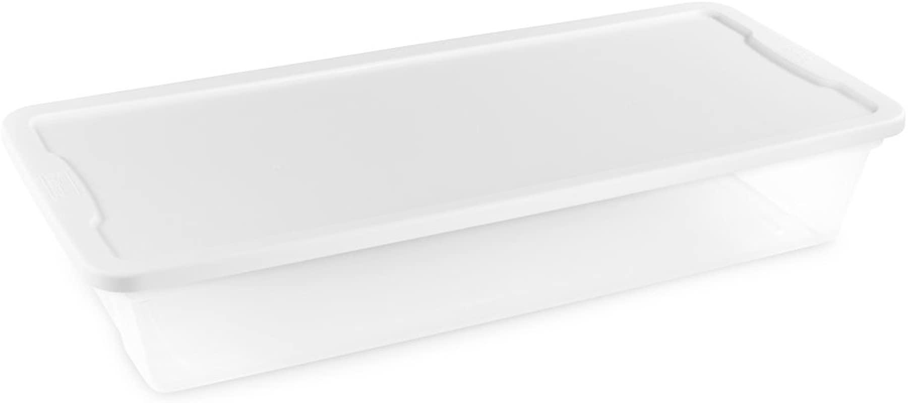 Homz Plastic Underbed Storage Snap Lock White Lids 41 Quart Clear Stackable 6 Pack