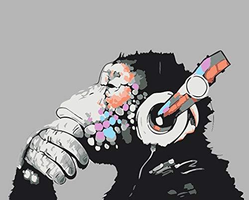 WONZOM DIY Pintura al óleo Pintar por Numeros Kit sobre Lienzo para Adultos Niños Principiantes Gorila Escuchando música (16 * 20 Pulgadas, Sin Marco)
