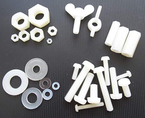 15x Nylon/Kunststoff Schrauben Muttern Beilagscheibe Distanzmutter Flügelmutter Verbinder M4 M5 M6 M8 10mm 20mm 30mm (Typ & Grösse auswählen) (15x M5x10mm Linsenkopfschraube)