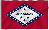 Anley Fly Breeze 3x5 Foot Arkansas State Polyester Flag - Vivid Color and Fade Proof - Canvas Header and Double Stitched - Arkansas AR State Flags with Brass Grommets 3 X 5 Ft