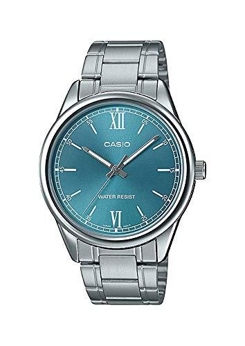 Casio MTP-V005D-3B Men's Standard Stainless Steel Aqua Blue Dial Analog Watch