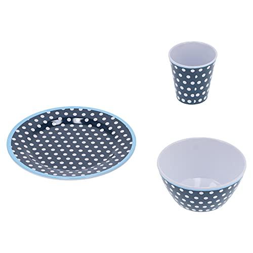 Taza de melamina, suministros para el hogar, punto azul oscuro, 12 piezas/juego, vajilla multiusos para restaurante para el hogar