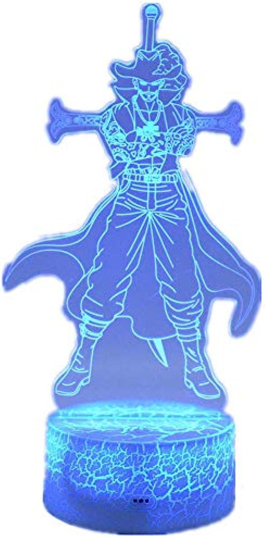 3D dekoratives Nachtlicht 3D Nachtlicht Anime One Piece LED USB Büro Dekoration Tischlampe Touch Fernbedienung 16 Farbverlauf Kreative Dekoration Kinder Spielzeug Geschenk Emotionales Nachtlicht