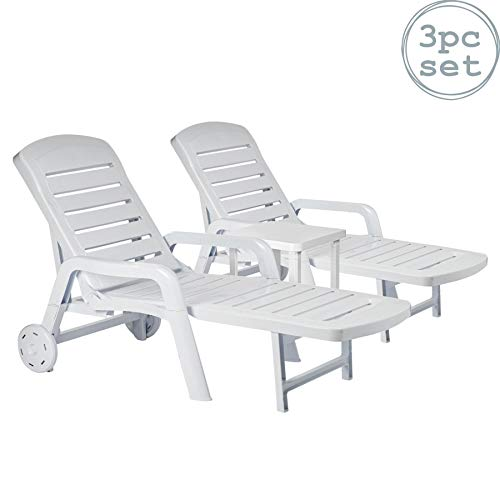 Resol 2 Piece Palamos Plastic Garden Sun Lounger Bed Set - Adjustable Reclining Outdoor Furniture - White