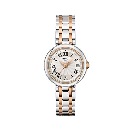 Tissot Bellissima 316L caja de acero inoxidable con revestimiento de PVD oro rosa reloj de vestir oro rosa 5N, gris T1260102201301