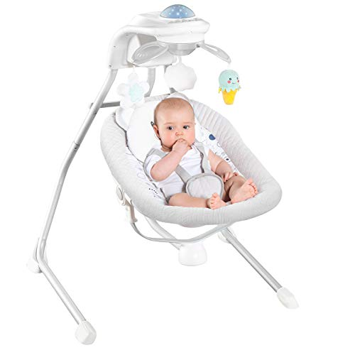RONBEI Baby Swings for Infants, Cradle Swing, Electric Baby Swing Chair with 4 Swing Speeds/Vibration & Music