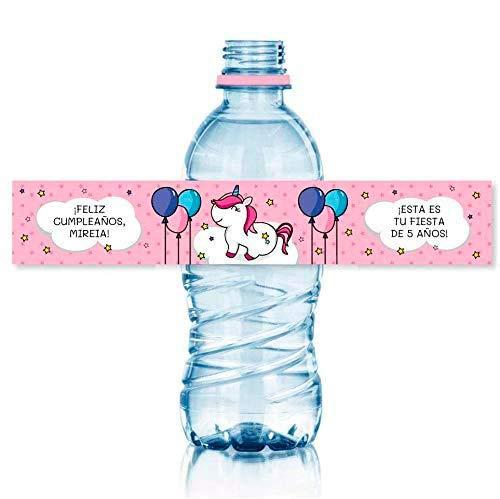 15 Etiquetas personalizadas para fiestas y cumpleaños. Tamaño botellas de agua 33 cl.