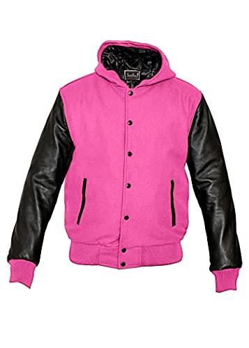 TRèS CHiC Varsity College Letterman - Chaqueta de piel auténtica con mangas negras, cuerpo de lana rosa con capucha (7XL)