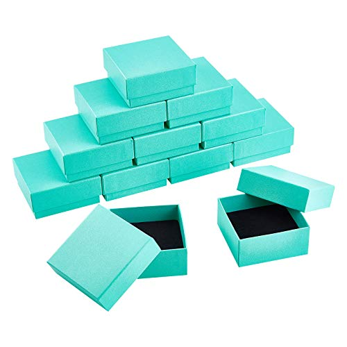 BENECREAT 12 Pack Cajas de Cartón para Joyas 7.5x7.5x3.5cm Caja de Regalo para Anillo y Collar Cuadrado con Inserto de Esponja para Aniversarios, Bodas, Cumpleaños, Verde Claro