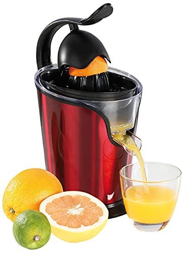 Spremiagrumi elettrico con beccuccio per succo d'arancia 100 Watt (centrifuga, 2 coni di spremitura, motore silenzioso, doppio beccuccio, colore rosso).