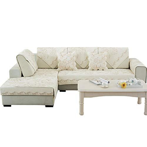 YUTJK Forma L Funda Chaise,Funda de sofá Reversible con Bordado de Rosas de algodón Cojín de sofá de Oficina de Hotel Cada Pieza se Vende por Separado-Beige_90 * 120cm