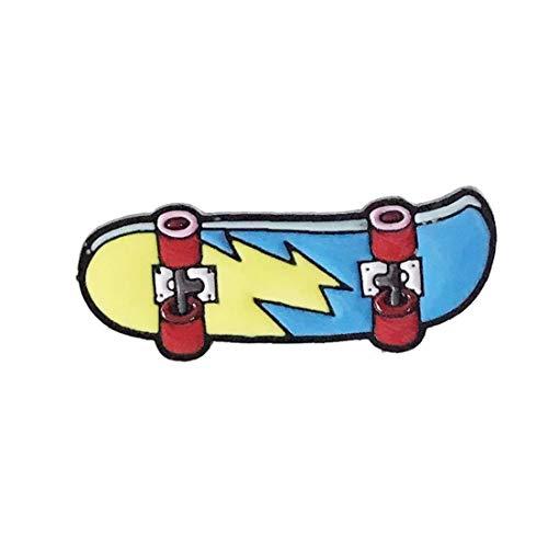 Aisoway Unisex Karikatur Skateboard Broschen Blitz Skating Emaille Pin Trinkets Blau