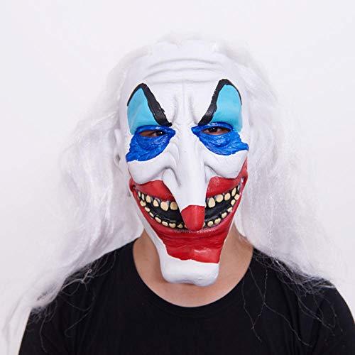 YiYuDe Masken Paintball-Schutzmasken Erwachsenenmaske Halloween-Latexmaske Clown Face Adult Child Dress Up Show, Weißes Haar, Lange Nase