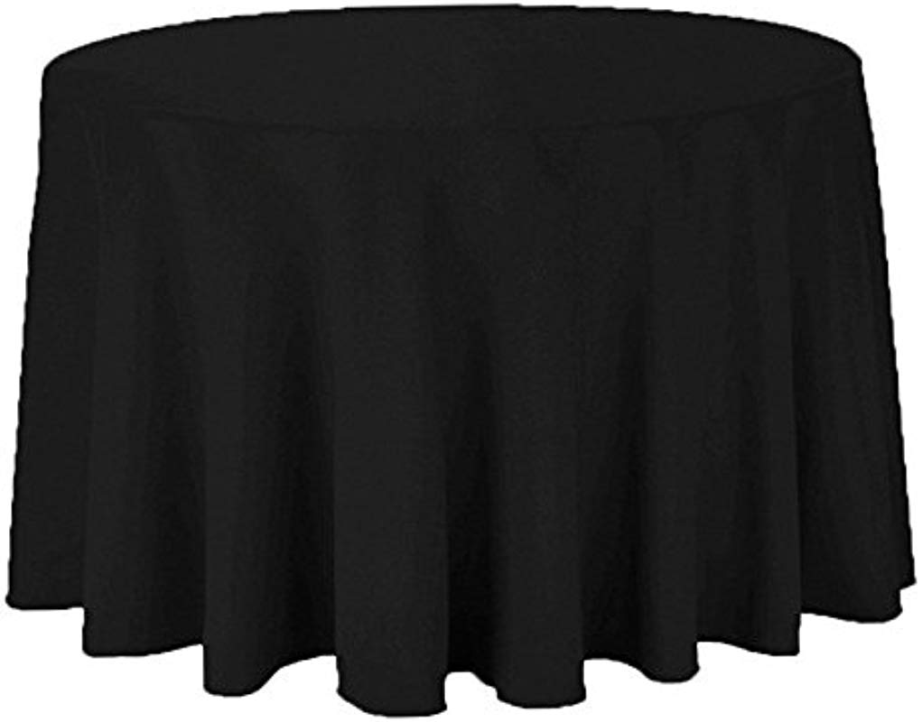 Sparkles Make It Special 10 Pcs 132 Inch Round Polyester Cloth Fabric Linen Tablecloth Wedding Reception Restaurant Banquet Party Machine Washable Black