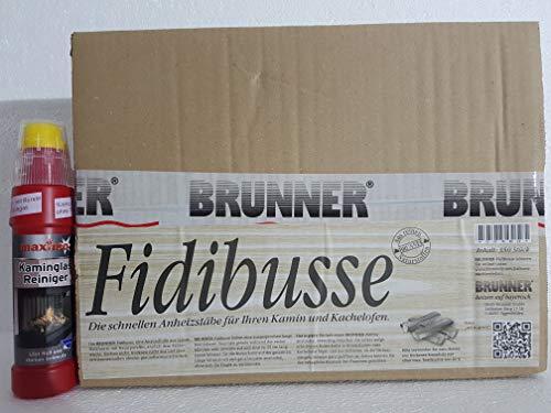 Fidibusse Brunner Ofenanzünder Grillanzünder Anzünder 350 Stück + Kaminglas Reiniger 1 Flasche á 200ml