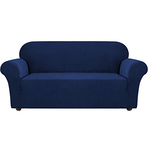 Turquoize Navy Blue Sofa Slipcovers Spandex Jacquard Furnitue Cover/Lounge Cover, Machine Washable Spandex Form Fit Sofa Covers with Elastic Bottom Fully Covered Sofa Slipcovers (Sofa, Navy)