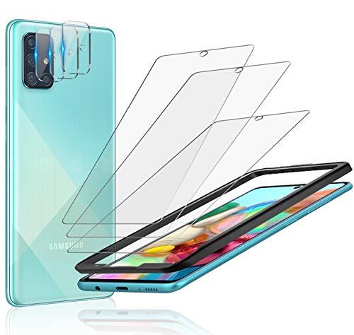 A-VIDET Schutzfolie kompatibel mit Samsung Galaxy A71 Panzerglas+ Kamera Panzerglas [7 in 1],Montagerahmen, HD Klar Kameraschutz Folie Gehärtetem Glas Bildschirmschutzfolie