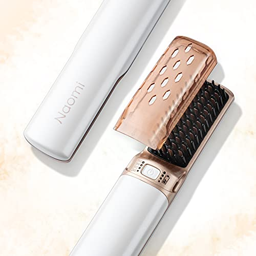 Hot Comb Cordless Hair Straightener,Portable Hair Straightening Brush Mini Straightener USB Rechargeable Hair Brush,2 in 1 Hair Straightener Brush with Anti-scald Feature for Women & Men