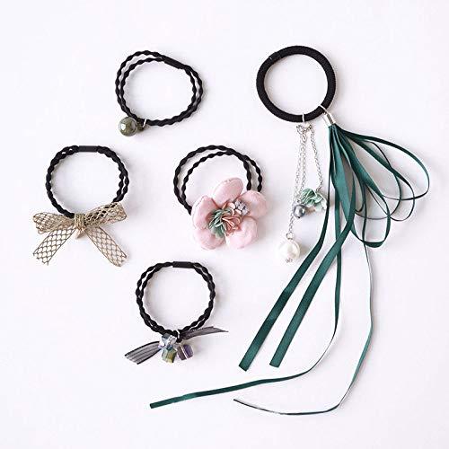THTHT haarring eenvoudige meisjes elastische haarband groene boog stof bloemen slingers 5 stuks hoofdtooi vrouwelijk haar met paardenstaart rubberen band haarbundel