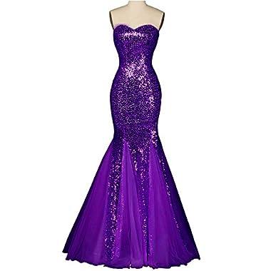 OYISHA Womens Sweetheart Mermaid Prom Dresses Sequined Formal Evening Gown SQ38 Purple 24W