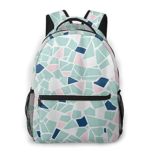 DJNGN Mochila casual atlética Azulejo de mosaico azul rosado, Mochila de ocio de moda Mochila clásica unisex Mochila de viaje Mochila de viaje Mochila de hombros de 16 pulgadas