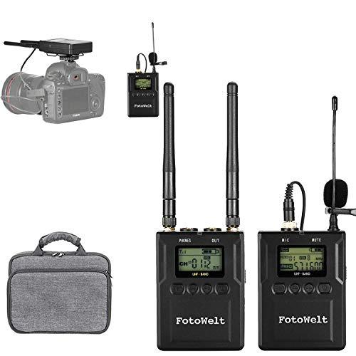 fotowelt WM-9 50 Kanäle Wireless Lavalier Mikrofon Set Lavalier Kabellos mit LCD Unterstützung für Echtzeitmonitor mit Kamerahalterung für DSLR-Kameras, Camcorder Interviews ENG EFP DV iPhone