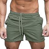 Pantalones Cortos Hombre Chandal Verano 2019 Nuevo SHOBDW Tallas Grandes Corriendo Pantalones Hombre Deporte Bolsillos Color Sólido Transpirable Pantalones de Playa(Verde 2,L)