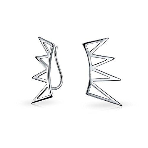 Boho de moda minimalista pirámide geométrica triángulos crawlers oreja Pin Warp Climbers pendientes para mujeres adolescentes 925 plata de ley