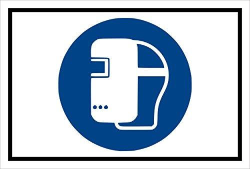 Aufkleber - Gebots-zeichen - Schweiß-maske benutzen - entspr. DIN ISO 7010 / ASR A1.3 – 15x10cm – S00361-037-A +++ in 20 Varianten