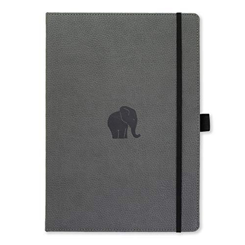 Dingbats D5102GY Wildlife A4+ Hardcover Notizbuch - PU-Leder, Mikroperforiert 100gsm Creme Seiten, Innentasche, Gummiband, Stifthalter, Lesezeichen (Kariert, Grauer Elefant)