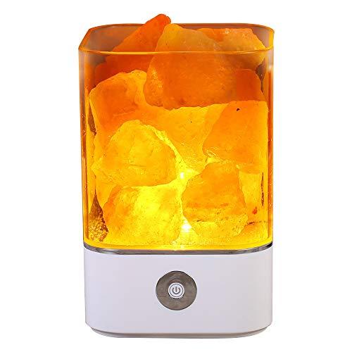 TOMNEW Lámpara de sal natural del Himalaya, USB real del Himalaya himiliano rosa sal lámpara de roca buena para la salud pequeña mineral negativa Lonic piedra de lava luz nocturna para dormitorio