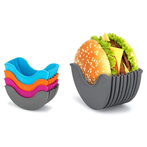 LUKKC Soporte para hamburguesas, reutilizable, caja fija para hamburguesas, ampliable, ajustable, higiénica, reutilizable, para hamburguesas, caja de silicona