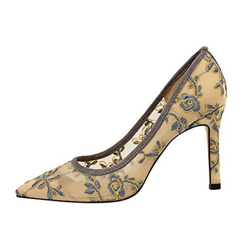 Zapatos de Corte Sexy de Encaje de Malla para Mujer Zapatos con Punta Estrecha Vestido de Fiesta Resbalón en Sandalias