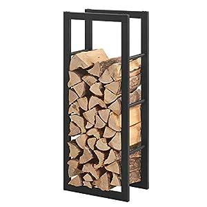 [en.casa] Soporte para leña 50 x 150 x 25 cm Estante de leña Acero Recubrimiento en Polvo Negro