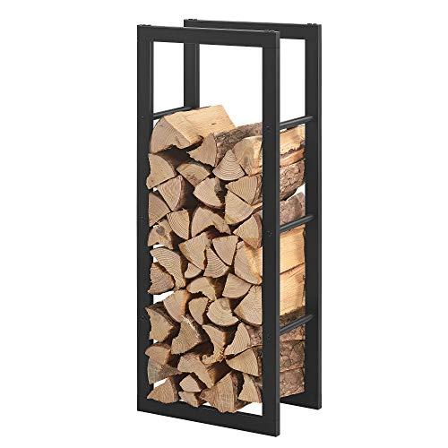 [en.casa] Porte-Bûches Robuste Range-Bûches Solide Support pour Bois de Chauffage Rangement Efficace pour Intérieur Extérieur Acier Laqué 40 x 100 x 25 cm Noir