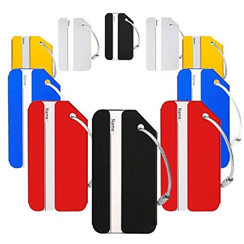 Landisun Luggage Tags Baggage Id Personalized Metal Tag Name Suitcase Colorful Travel Labels for Women Men of 10 Pack (10 Sets)