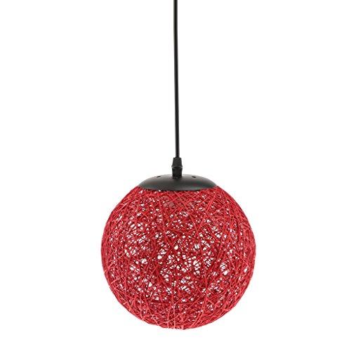 Landhaus Stil, E27 Stecker Rund Rattan Kugel Weidenkugel Decke Lampenschirm mit Kabel für Glühbirne Pendelleuchte Hängeleuchte Deckenleuchte Wohnzimmer Dekoration - Rot
