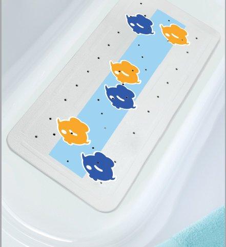 Wanneneinlage 36cm x 91cm Globe Fish gelb blau Fische auf hellblauen Untergrund in weiß schwarz gelb