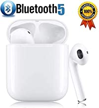 Bluetooth 5.0 Wireless Earbuds 3D Stereo Headphones with【24Hr Playtime】 IPX5 Waterproof,Intelligent Noise Reduction Pop-ups Auto Pairing with Charging Case Compatible for iPhone/Samsung/Apple/Airpods