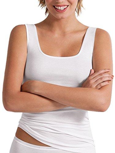 Pompadour Intime Shirt ohne Arm Micromodal Damenunterwäsche Gr 38-50 im 3er Pack (40, 0 weiss)