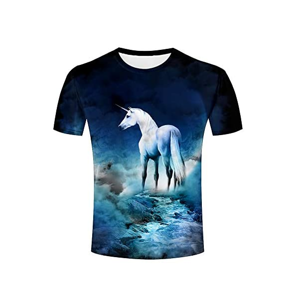 Men Casual Tshirts Creative Horse Unicorn 3D Graphic Printed Unisex Animal Pattern Graphic Tees Tops 3