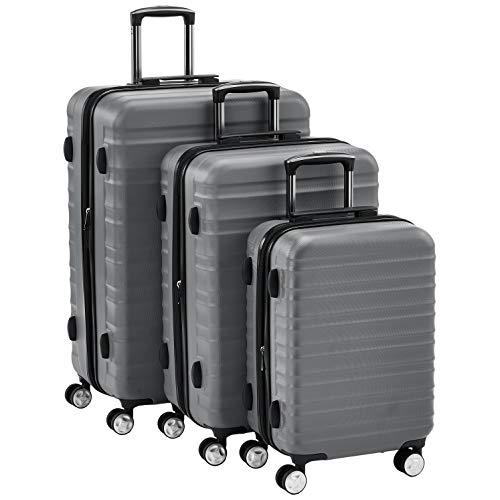 Amazon Basics - Juego de 3 maletas rígidas giratorias prémium (55 cm, 68 cm, 78 cm), gris