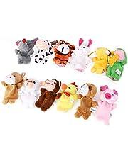 Toddmomy Zestaw 18 szt. lalek 12 zwierząt dla 6 osób, lalki na palce, dzieci zabawka edukacyjna dla niemowląt