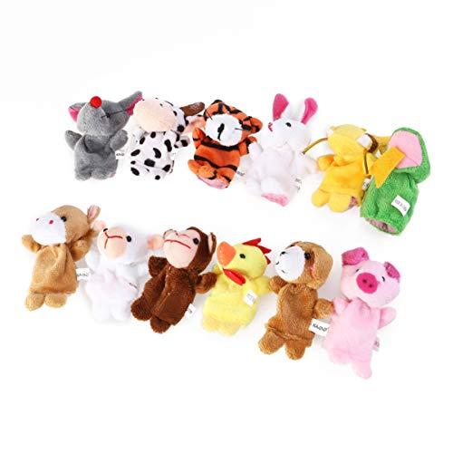 Toddmomy Juego de 18 marionetas de dedo, 12 animales, 6 personas, juguete educativo para bebés