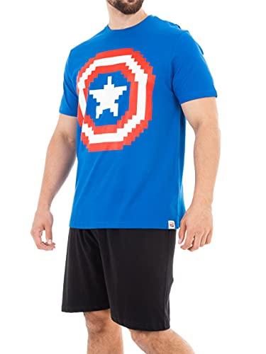 Marvel Pigiama per Uomo Captain America Blu Medium